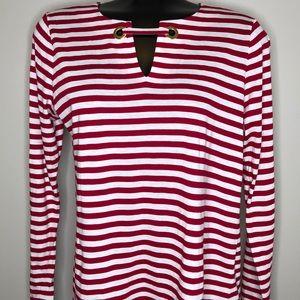 MICHAEL Michael Kors red & white stripe split neck